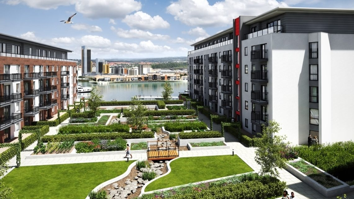 modern apartment buildings with green spaces