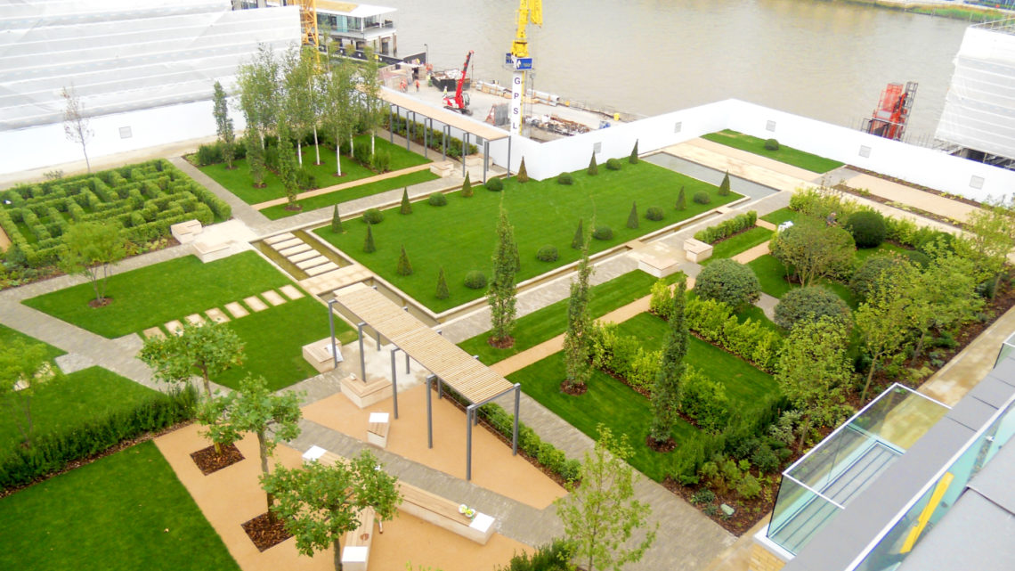 fulham wharf podium deck and green spaces