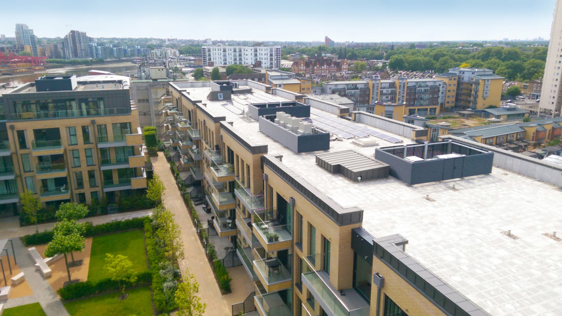 fulham wharf apartment buildings from above